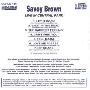 Savoy Brown – Live In Central Park